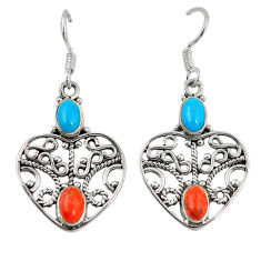 Clearance Sale- er turquoise 925 sterling silver dangle earrings d7201