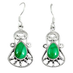 Clearance Sale- Natural green malachite (pilot's stone) 925 silver dangle earrings jewelry d7207