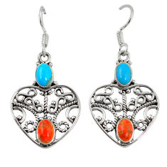 Clearance Sale- er turquoise 925 sterling silver dangle earrings d7213