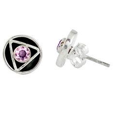 Pink kunzite (lab) 925 sterling silver stud earrings jewelry d9345