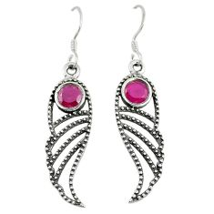 Clearance Sale- ver red ruby quartz dangle earrings jewelry d9404