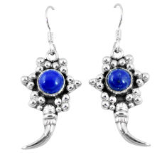 Clearance Sale- Natural blue lapis lazuli 925 sterling silver dangle earrings d9522