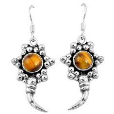 Natural brown tiger's eye 925 sterling silver dangle earrings d9528