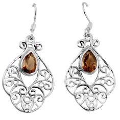 Clearance Sale- Brown smoky topaz 925 sterling silver dangle earrings jewelry d9538