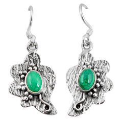 Clearance Sale- 925 silver natural green malachite (pilot's stone) dangle earrings jewelry d9564