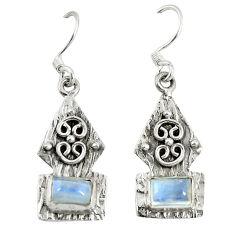 Clearance Sale- Natural rainbow moonstone 925 sterling silver earrings jewelry d9592
