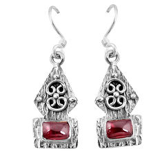 Clearance Sale- Natural red garnet 925 sterling silver dangle earrings jewelry d9599