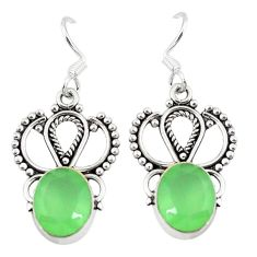 Natural green prehnite 925 sterling silver dangle earrings jewelry d9602