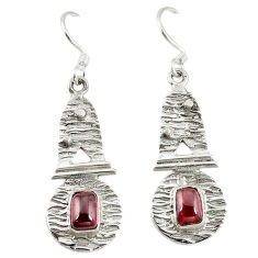 Clearance Sale- 925 sterling silver natural red garnet dangle earrings jewelry d9619