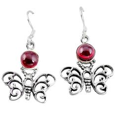 Clearance Sale- Natural red garnet 925 sterling silver butterfly earrings jewelry d9677