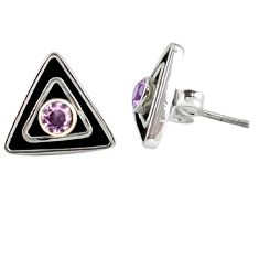 Clearance Sale- ver pink kunzite (lab) round stud earrings jewelry d9704