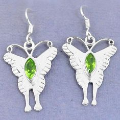 Clearance Sale- ver natural green peridot butterfly earrings d9724