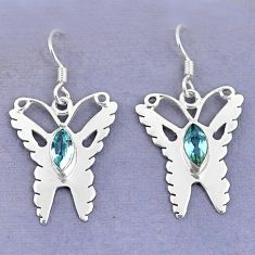 Clearance Sale- 925 sterling silver natural blue topaz butterfly earrings jewelry d9744