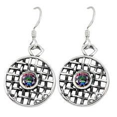 Clearance Sale- Multi color rainbow topaz 925 sterling silver dangle earrings d9761