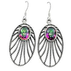 Clearance Sale- Multi color rainbow topaz 925 sterling silver dangle earrings d9774