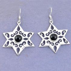 Clearance Sale- Natural black onyx 925 sterling silver dangle earrings jewelry d9787