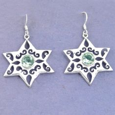 Clearance Sale- Natural green amethyst 925 sterling silver dangle earrings jewelry d9789