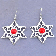 Clearance Sale- Red coral round 925 sterling silver dangle earrings jewelry d9793