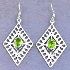 Clearance Sale- Natural green peridot 925 sterling silver dangle earrings jewelry d9805