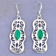 Clearance Sale- Natural green chalcedony 925 sterling silver dangle earrings jewelry d9819