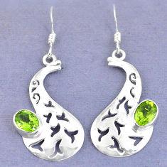 Clearance Sale- Natural green peridot 925 sterling silver dangle earrings jewelry d9825