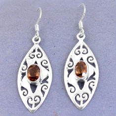 Clearance Sale- Brown smoky topaz 925 sterling silver dangle earrings jewelry d9830