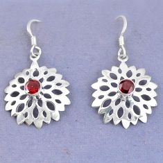 Clearance Sale- Natural red garnet 925 sterling silver dangle earrings jewelry d9836
