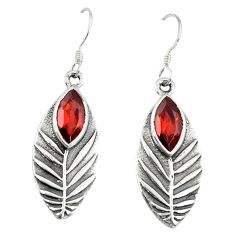 Natural red garnet 925 sterling silver dangle earrings jewelry d9863