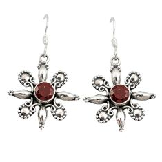 Natural red garnet 925 sterling silver dangle earrings jewelry d9868