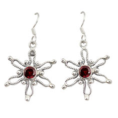 Clearance Sale- Natural red garnet 925 sterling silver dangle earrings jewelry d9873