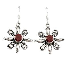 Clearance Sale- Natural red garnet 925 sterling silver dangle earrings jewelry d9880