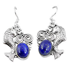 is lazuli 925 sterling silver fish earrings jewelry d9882