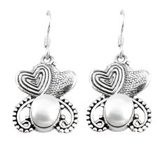 Clearance Sale- ver natural white pearl couple hearts earrings jewelry d9896