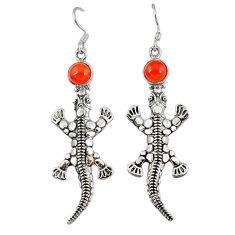 Clearance Sale- Natural orange onyx 925 sterling silver dangle lizard earrings jewelry d9907