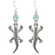925 sterling silver natural blue topaz dangle lizard earrings jewelry d9910