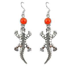 Clearance Sale- Natural orange onyx 925 sterling silver dangle lizard earrings jewelry d9913