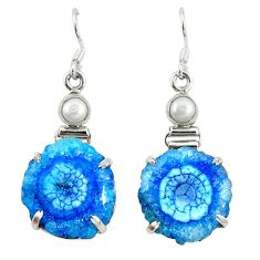 925 silver natural blue solar quartz slice druzy dangle earrings jewelry d9916