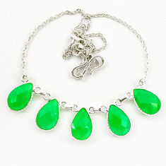 Clearance Sale- Green chalcedony 925 sterling silver necklace jewelry d10326