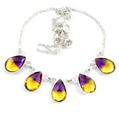 Multi color ametrine (lab) pear 925 sterling silver necklace jewelry d10340