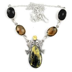 Clearance Sale- yrite in magnetite (healer's gold) 925 silver necklace d10397