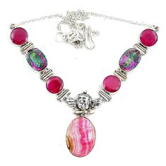 Natural pink rhodochrosite inca rose (argentina) 925 silver necklace d10399