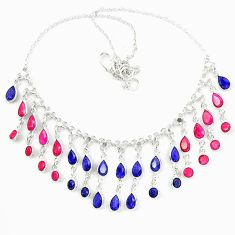 925 sterling silver natural blue sapphire ruby necklace jewelry d23957