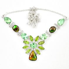 Natural multi color ammolite (canadian) 925 silver necklace jewelry d23966