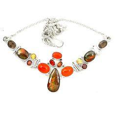 Natural ammolite (canadian) cornelian (carnelian) 925 silver necklace d23967