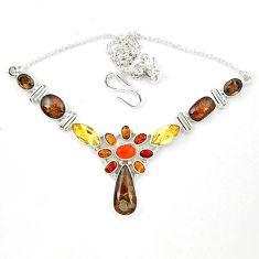 Clearance Sale- Natural ammolite (canadian) cornelian (carnelian) 925 silver necklace d23969