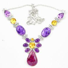 Natural purple cacoxenite super seven charoite 925 silver necklace d23970