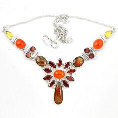 Natural ammolite (canadian) cornelian (carnelian) 925 silver necklace d23971