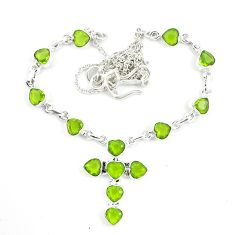 Natural green peridot 925 sterling silver cross necklace jewelry d25455