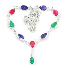 925 sterling silver natural blue sapphire emerald necklace jewelry d25873