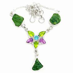 925 silver natural green moldavite (genuine czech) necklace jewelry d25892